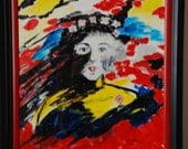 Original  Mysterious Woman Acrylic painting  50/39 cm /19.7/15/4 inches