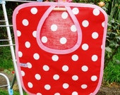 Red Polka Dot Clothes Pin Bag, With Pink Trim.