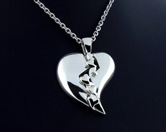 Sterling Silver Bleeding Hearts Pendant  c/w Chain