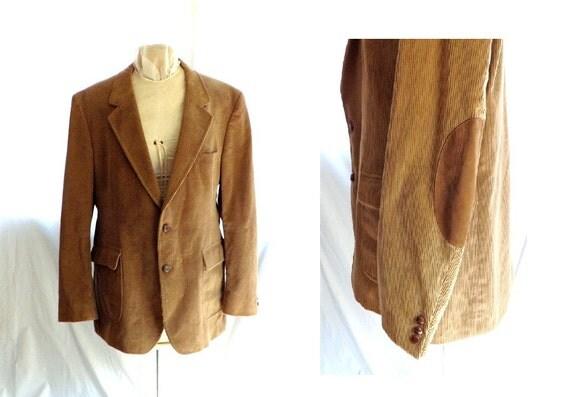 1970s sportcoat / vintage Tan Corduroy Blazer Jacket 48 L elbow patches / the Social Network ...