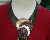 Chocolate Mocha Brown Leather Bib Necklace with Colorful Leather Circles