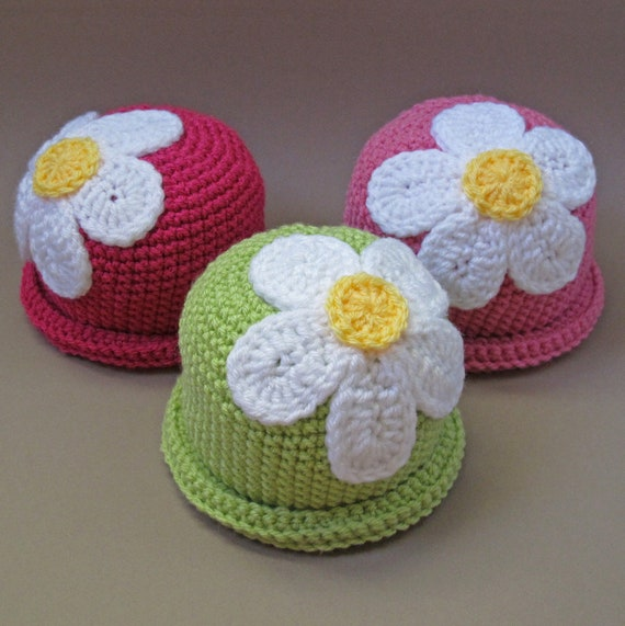CROCHET PATTERN - Spring Fling - a beanie hat with flower in 5 sizes (Baby - Adult)