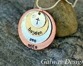 4 Disc Stacked Mixed Metal Hand Stamped Necklace
