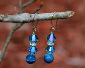 Celestial Blue bicone earrings