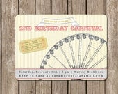 Carnival Ferris Wheel-Birthday Party Invitation-DIGITAL FILE (I design, you print)-perfect for a boy or girl can be customized for any color