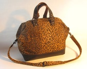 Handmade Leopard Print and Leather Mason Bag, Purse, Cross Body