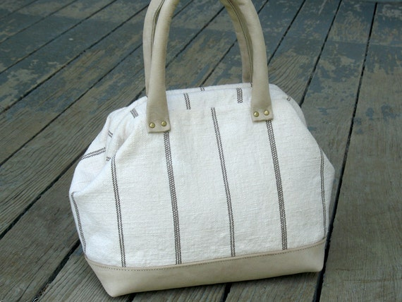 Linen and Leather Baby Mason Bag