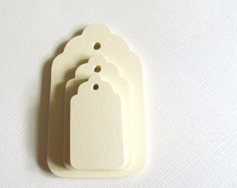 30 Small Cream Tags, Manila Tags, Gift Tags, Party Favor Tags, Scalloped, Price Tags, Mini Tags, Weddings, Showers