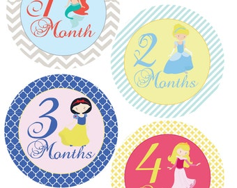 Fairy Tale Princesses Monthly Sticker- Baby Shower or New Mom gift - For a baby girl months 1-12