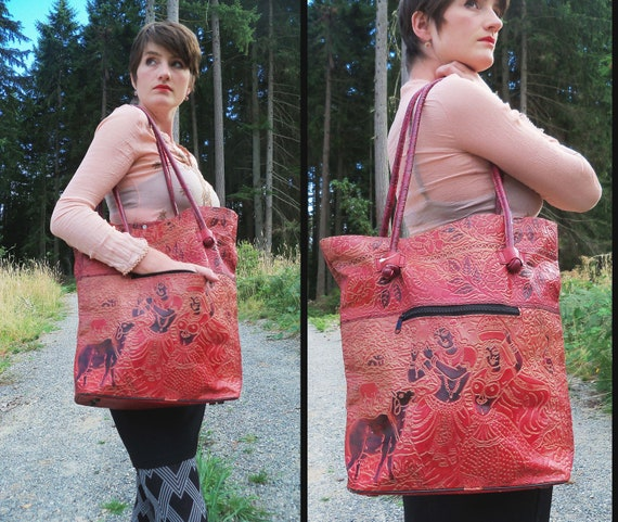 vintage EMBOSSED LEATHER Ethnic Indian Shopper Purse Tote Bag