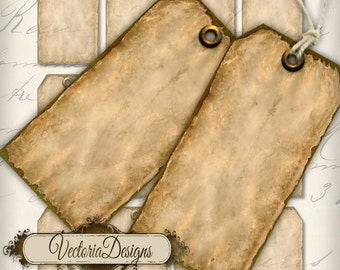 Antique Tags printable old vintage add text art craft hobby crafting scrapbooking instant download digital collage sheet - VD0172