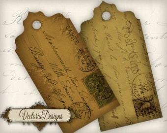 Postcard Tags sepia Labels instant download printable digital collage sheet VD0259