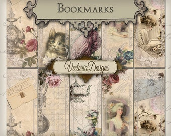 Shabby Chic Bookmarks instant download printable digital collage sheet VD0263