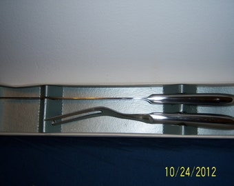 Vintage Two Piece Stainless Steel Carving Set - Retro Knife And Fork Carving Set In Original Box -  Made In Japan