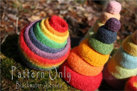Felted Rainbow Nesting & Stacking Bowls CROCHET PATTERN only