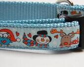 Christmas Dog Collar- Owl, Snowman, Reindeer Blue 3/4 inch wide
