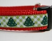 Christmas Tree Dog Collar- Green Checkerboard