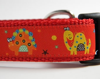 "Dinosaur Dog Collar- Red 1"" Wide"