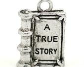 """4 Antique Silver Metal 3-D  3D """"A True Story"""" Book Charms Pendants  chs1305a"""