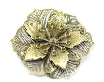 10 Large Brass Bronze Flower ROSETTE Leaf Stampings  FIL0033