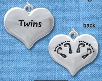 1 TWINS BABY FEET Silver Plated Heart Charm Pendant chs1096