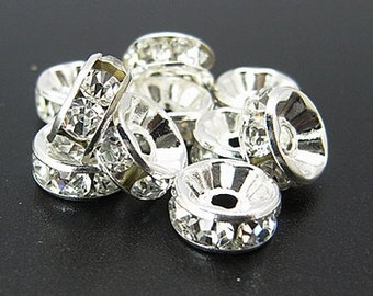 8mm CLEAR Rhinestone Crystal Spacer Rondelle Beads . 10 pieces bme0038