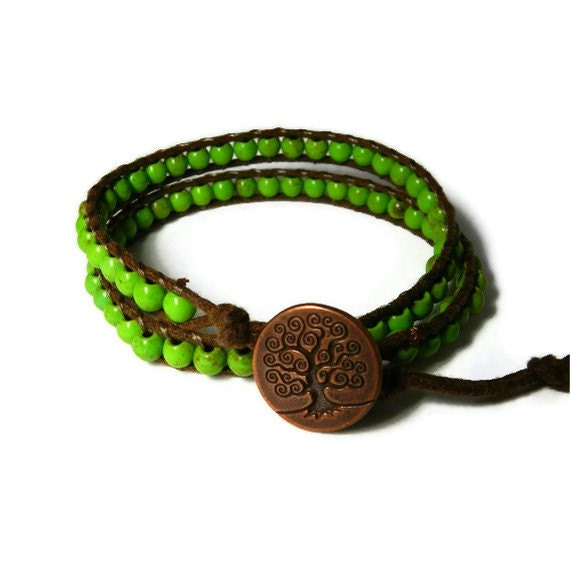 Double Wrap Bracelet, Green Turquoise, Tree of Life, Brown Cord Bracelet