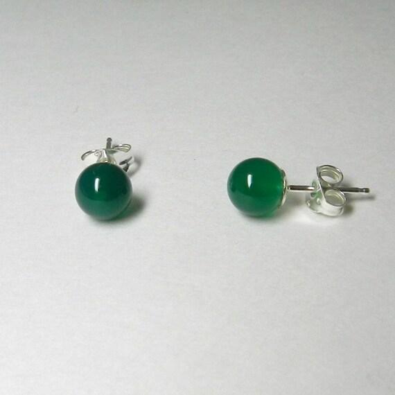 Green Onyx Post Earrings, Sterling Silver Studs, Minimalist