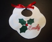 Christmas Hollyberry Baby Bib Embroidered Infant Personalized Baby Name Bib
