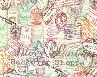 TRAVEL 5ft by 5ft foot / Vinyl Photography Backdrop / Passport Pattern