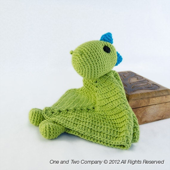 Instant Download - New PDF Crochet Pattern - Dino Security Blanket - Text instructions and SYMBOL CHART instructions