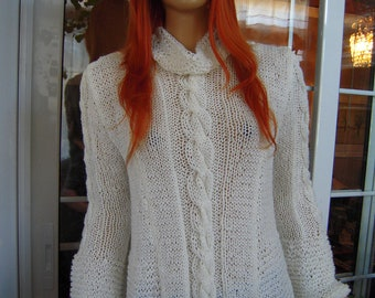 SALE sweater handmade knitted asymmetrical soft warm gift idea for her women clothing  by golden yarn