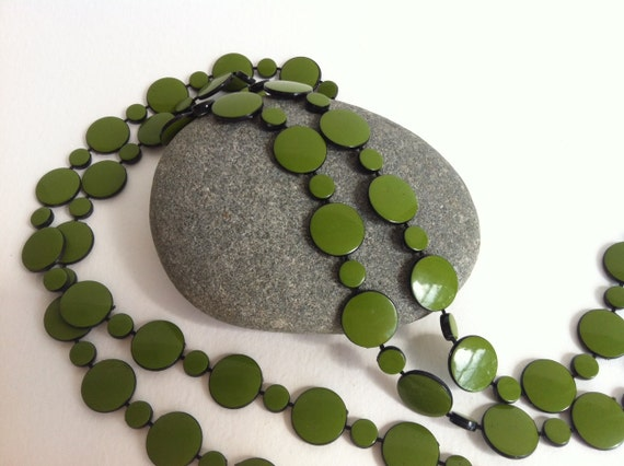 Vintage Green Dots Necklace
