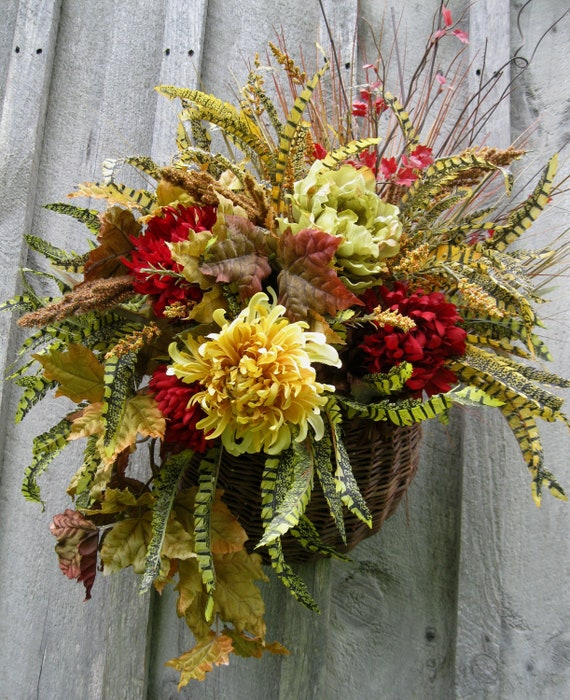 Fall Wreaths, Autumn Floral, Designer Wreath, Thanksgiving Wreath, Door Basket
