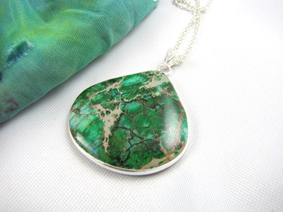 cool blue green  gemstone necklace