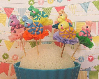 Colorful Snails Cupcake Toppers/Garden Party/Summer Party