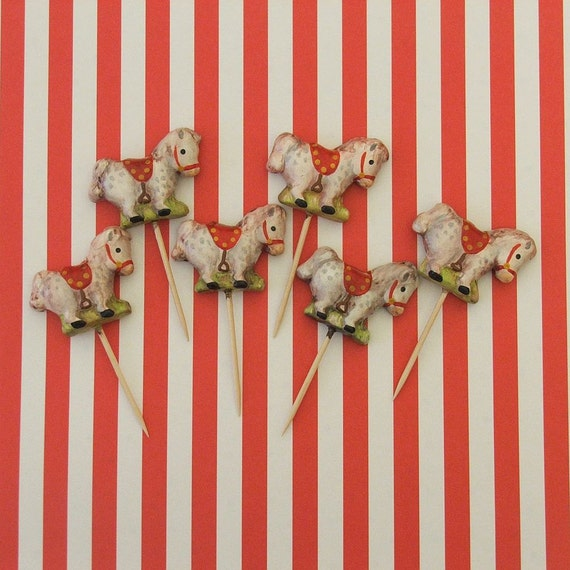 Antique Like/Vintage Horse/Pony/ Western Theme Cupcake Toppers