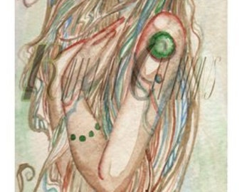 Ebb and Flow, Watercolor Print Fairy Mermaid Fantasy
