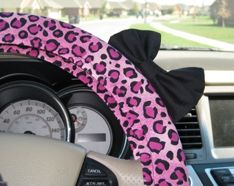 Steering Wheel Cover Bow, Pink Cheetah Steering Wheel Cover with Black Bow BF11087