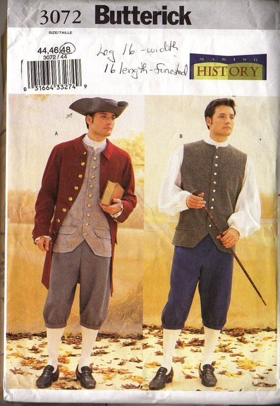 MEN'S Revolutionary War Costume  Including Hat  Butterick 3072  Sizes 44, 46, 48  GENTLY USED