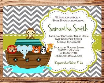 Marvelous Noahu0027s Ark Baby Shower Invitation, Ark Baby Shower, Elephant, Giraffe,  Zebra,