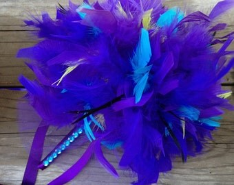 DRAMATIC Feathers Bridesmaid Bouquet - Purple Turquosie Black Lime Green Custom WEDDING COLORS Feather Bride Toss Bouquets