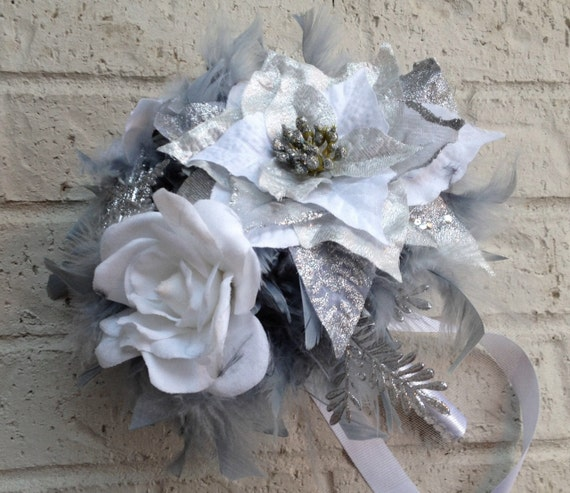 items similar to dramatic winter wonderland feathers flowers bridesmaid bouquet white silver. Black Bedroom Furniture Sets. Home Design Ideas