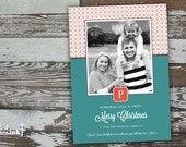 Merry Christmas Monogram Digital Holiday Card  - Customizable with scripture & photo (Luke 2:14)