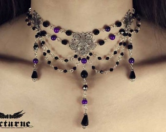Dramatic Choker Necklace - Black and Purple Victorian Necklace - Gothic Victorian Jewelry