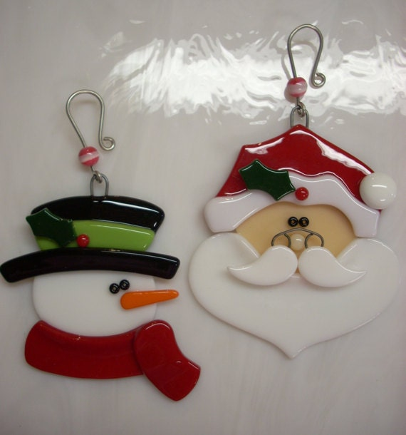 Fused glass santa ornament snowman reserved for lori