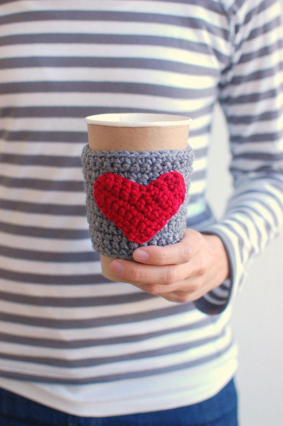 HEART Coffee cup cozy, Valentines gift