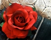Red Rose Hair Flower Clip