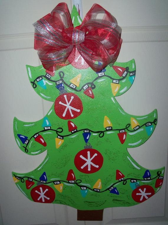 Items similar to wooden christmas tree door hanger or