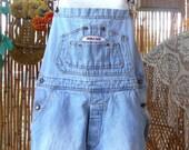 Vintage Bugle Boy Denim Cut OFF Shortalls/Overalls - Size Medium  Unisex